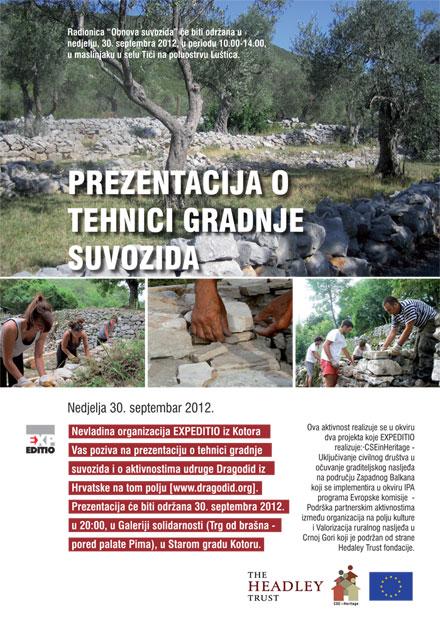 Radionica i prezentacija o tehnici gradnje suvozida, 30. septembar 2012.